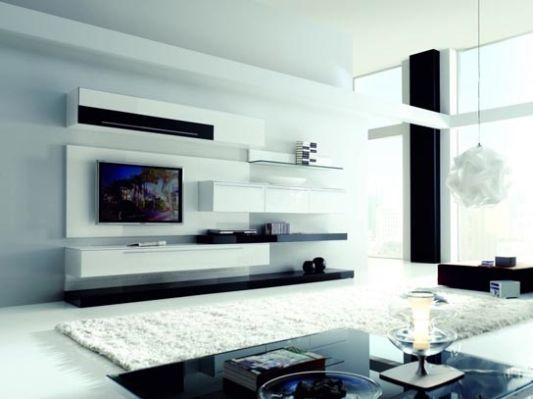 Ideas Modern Living Room With Boss Wall Unit