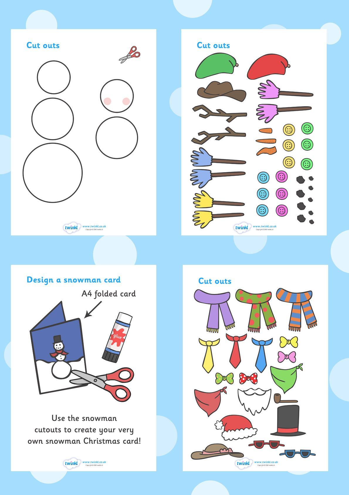 Christmas colouring in sheets twinkl - Twinkl Resources Snowman Christmas Card Designing Worksheets Printable Resources For Primary