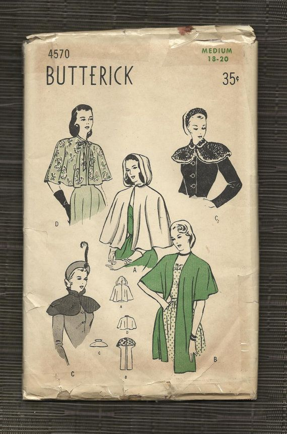 Vintage 1940s Capes and Wraps Pattern Hooded Cape Collared Capelet ...