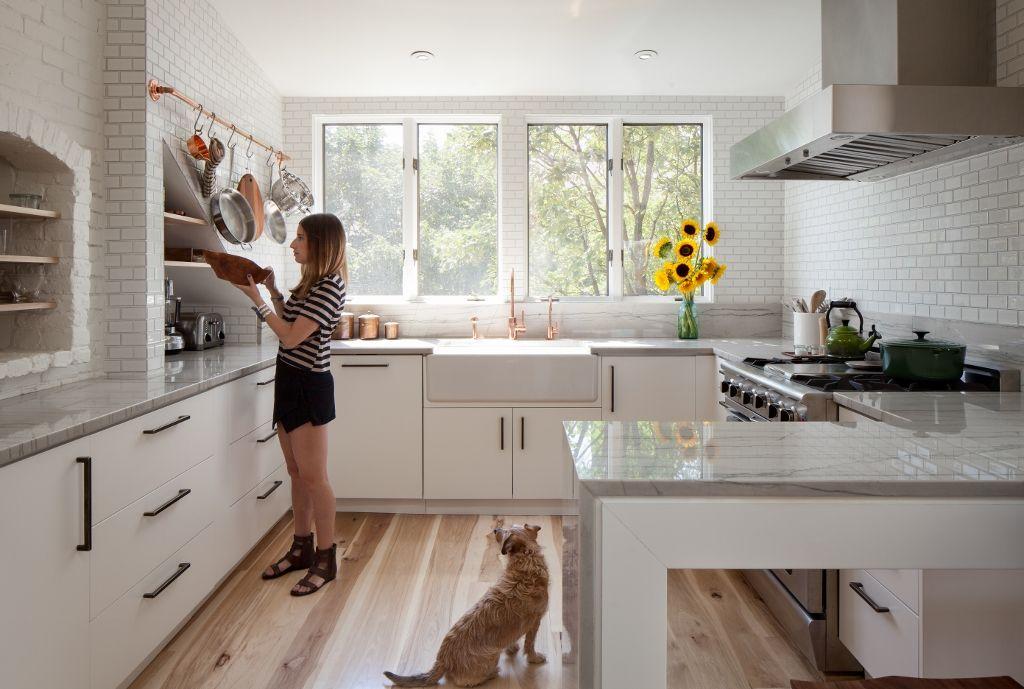 White Kitchens With Warm Wood Tone Floors