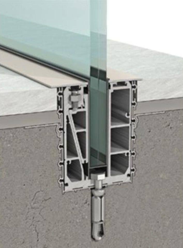 Tylko na zewnątrz Mocowanie balustrad szklanych - ukryty profil | architecture ZX03