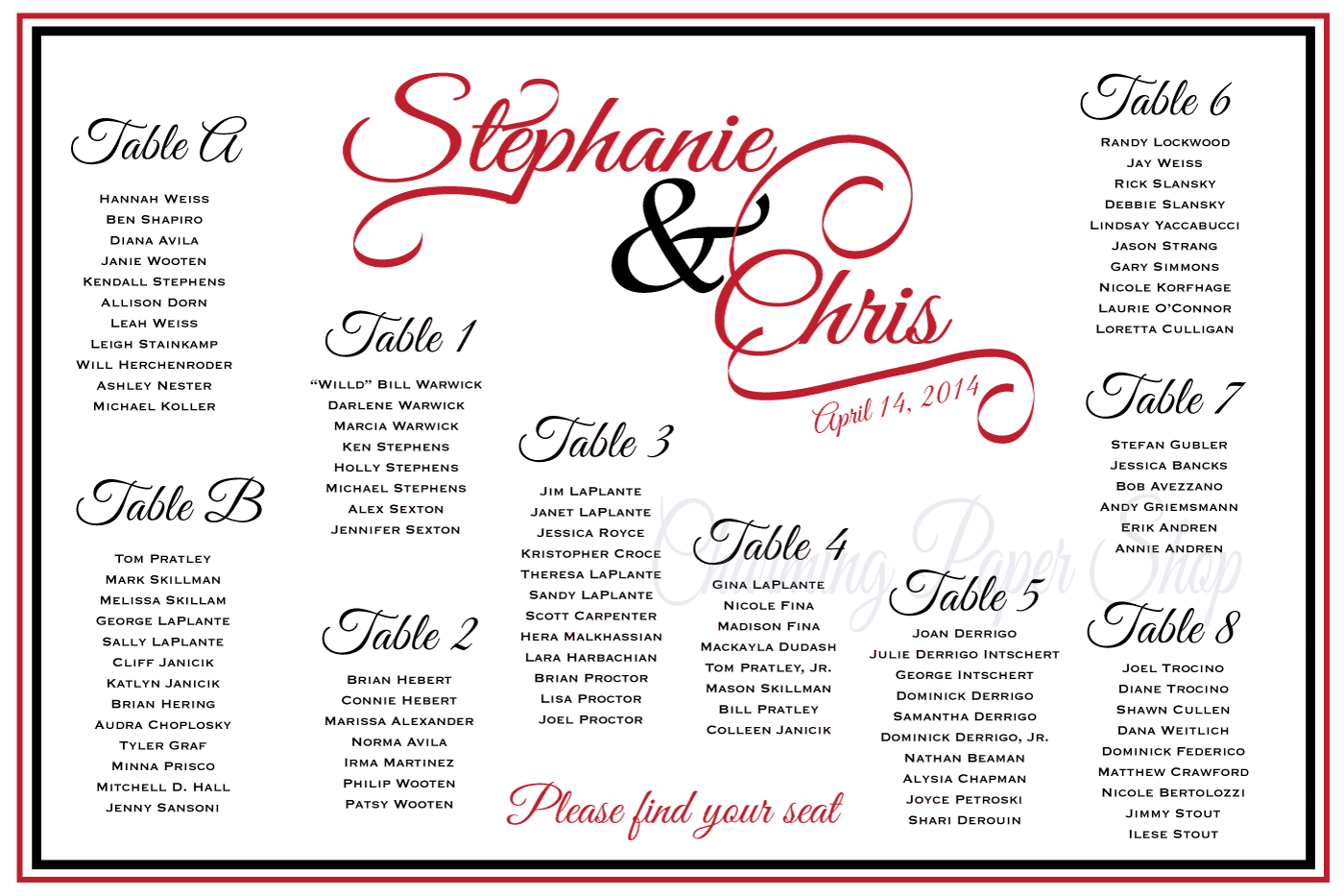 Custom design wedding seating chart with flourished names this is  large board placed at the entrance to your reception it can be framed or mounted also rh pinterest