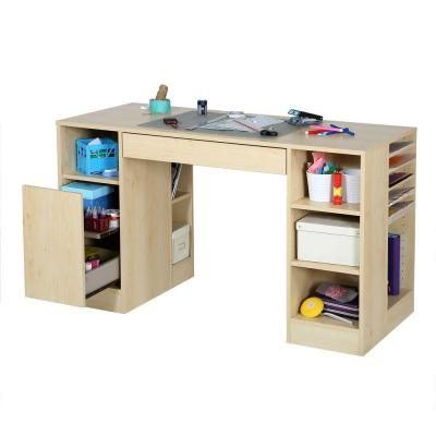 South Shore Furniture Crea Contemporary Laminated Particleboard Craft Desk in Natural Maple-7513727 - The Home Depot