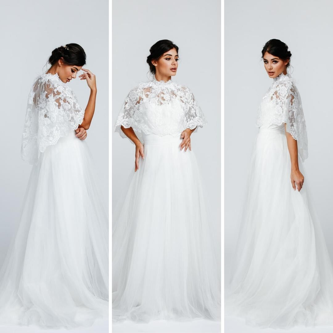 Bespokebridalvienna Posted To Instagram Mit Unserem Spitzen Hochzeitscape Colorado Kannst Du De White Formal Dress Wedding Dresses One Shoulder Wedding Dress