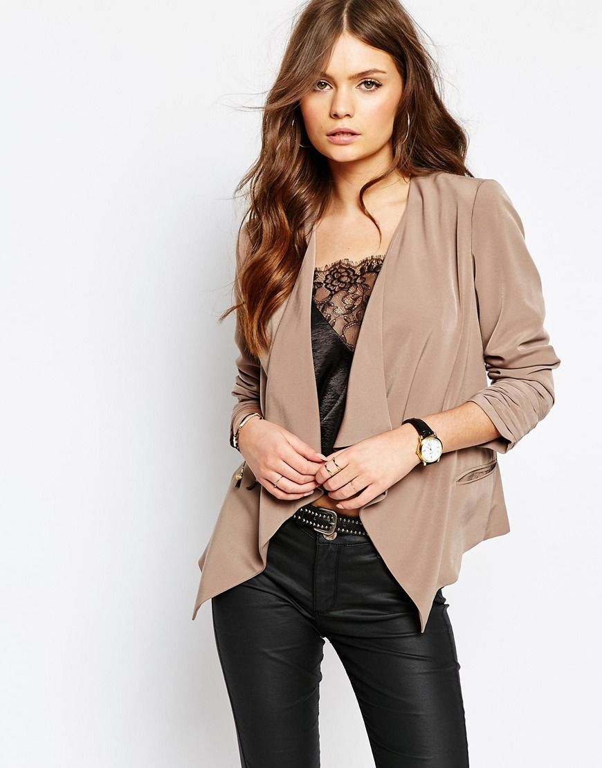 Image 1 Of New Look Crepe Waterfall Blazer Clothes Blazer