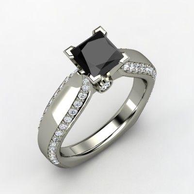 <3  Princess Black Diamond 14K White Gold Ring with Diamond | Aurora Ring | Gemvara