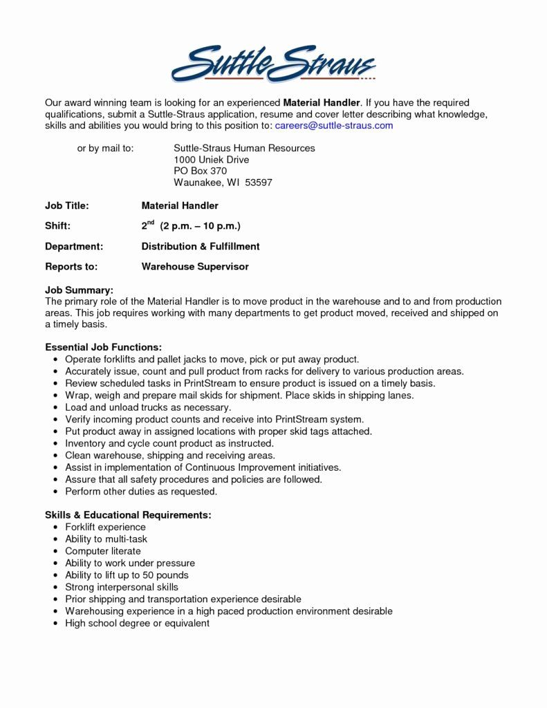 Material Handler Job Description Resume Luxury The Best Material Handler Job Description Samplebusinessre Job Resume Sales Job Description Medical Coder Resume