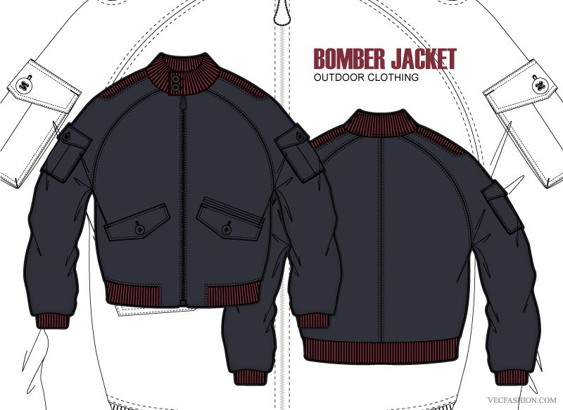 Men Bomber Jacket Vector Template Details Sewing Jackets