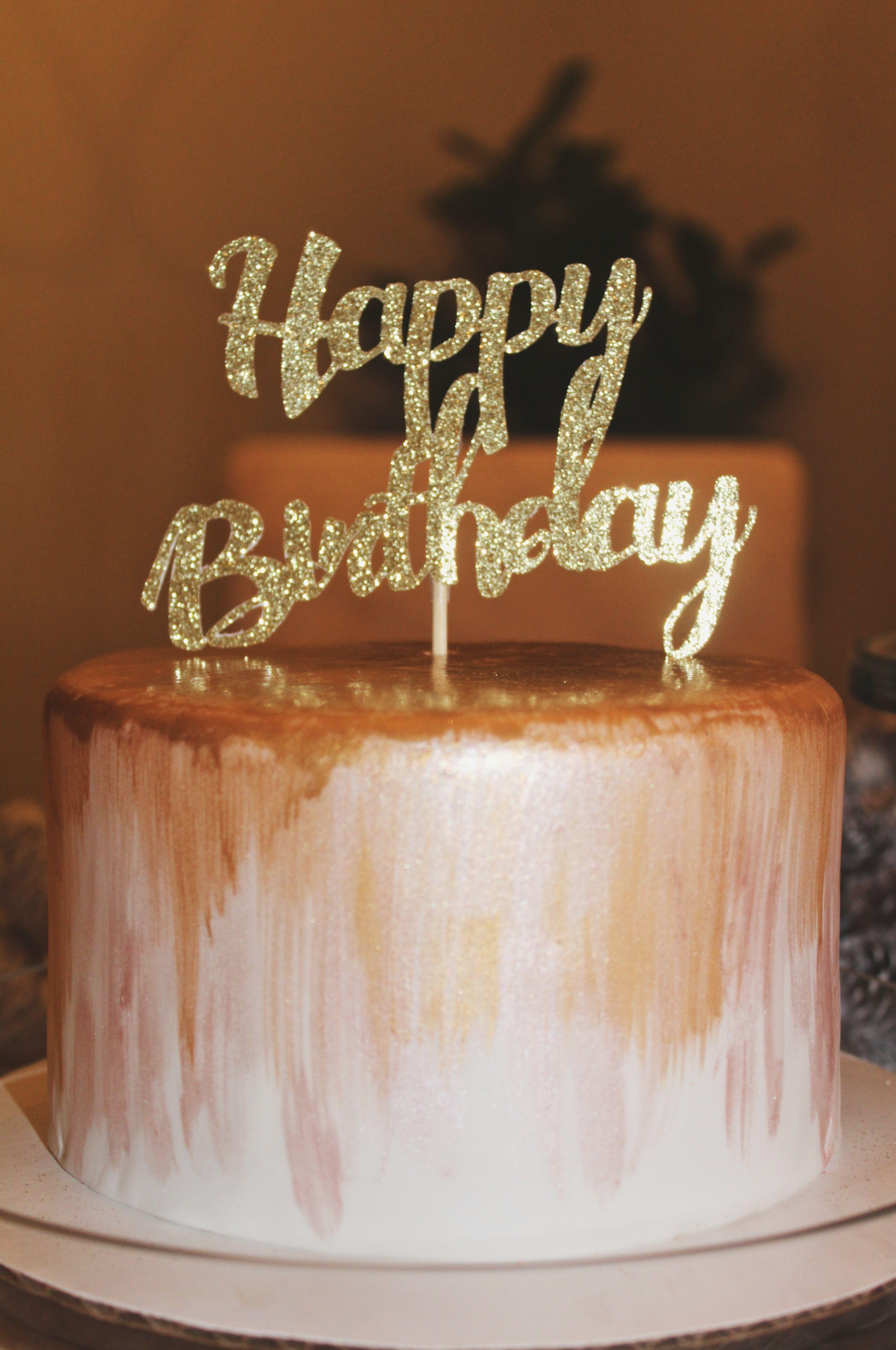 Cute Simple Glam Happy Birthday Cake