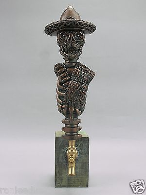 """""""PONCHO VILLA"""" WARRIOR SKULL BAR BEER TAP HANDLE DIRECT FROM RON LEE"""