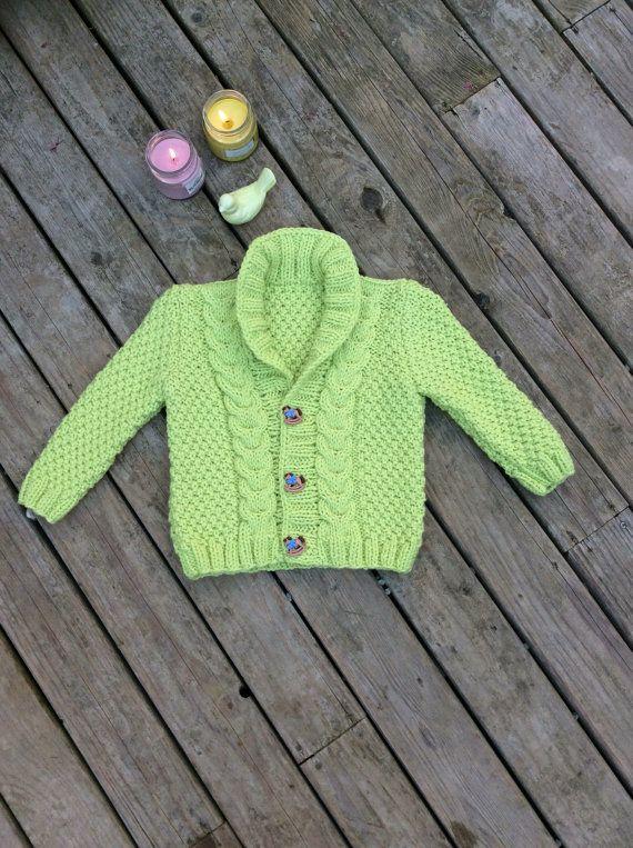 Punto bebé suéter Rebeca bebé de mano punto verde verde bebé ...