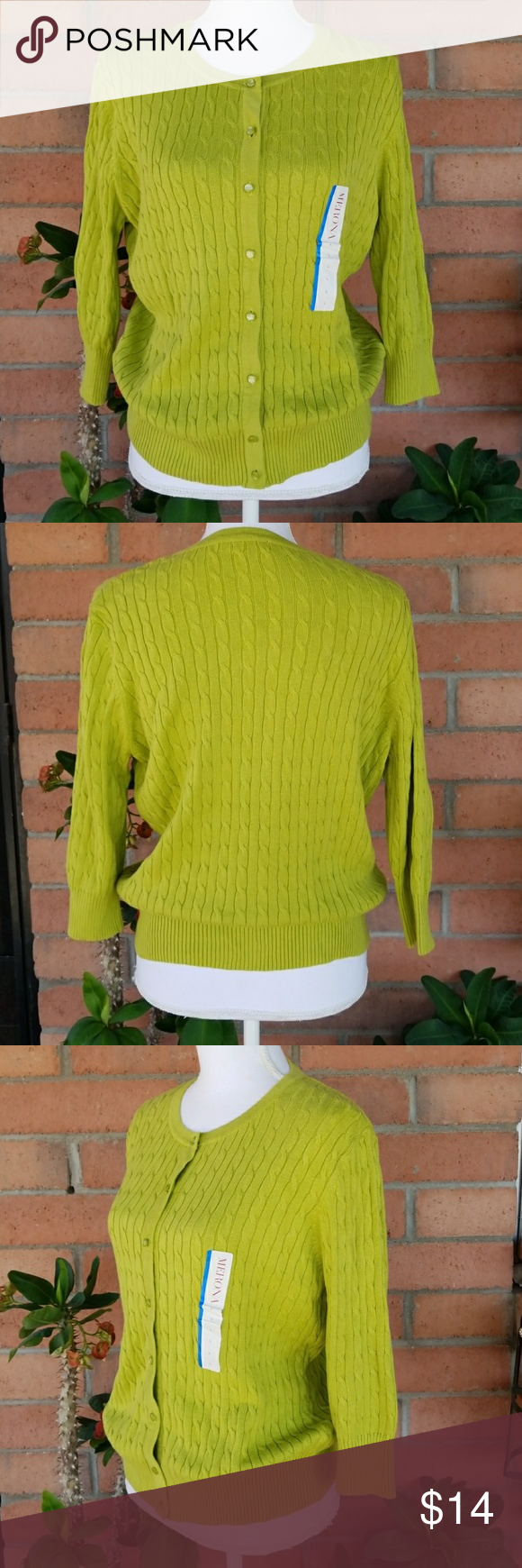 Merona | Lime Green Cardigan Sweater 3/4 Sleeves NWT