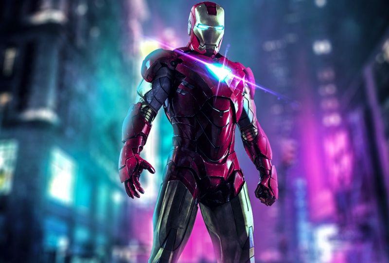 Iron Man 1920x1080 Neon Art Hd Wallpaper Wallpaper Grab