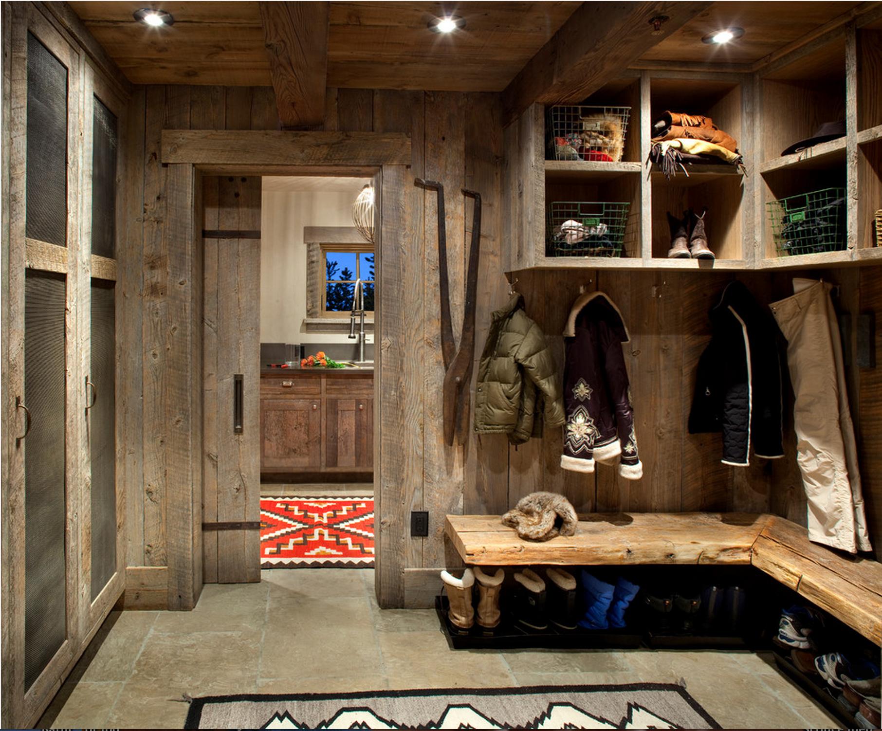 Ski Room Mudroom Reclaimed Wood Mountain Homes Rustic