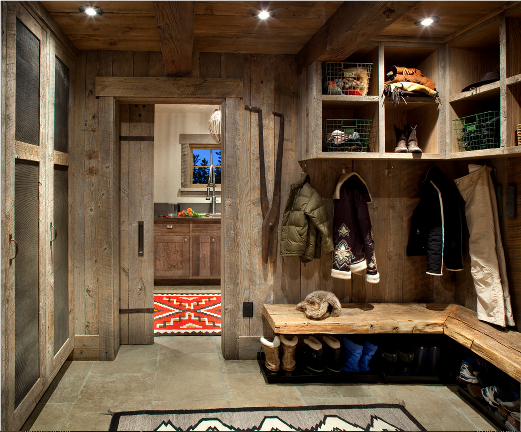Ski Room Mudroom Reclaimed Wood Rustic Laundry Rooms