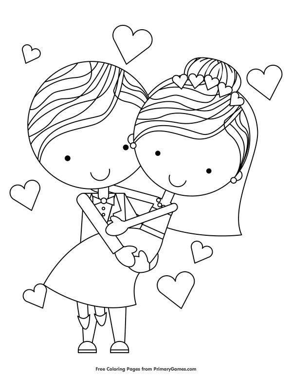 Just Married Coloring Page Free Printable Ebook Coloring Pages Wedding Coloring Pages Valentines Printables Free