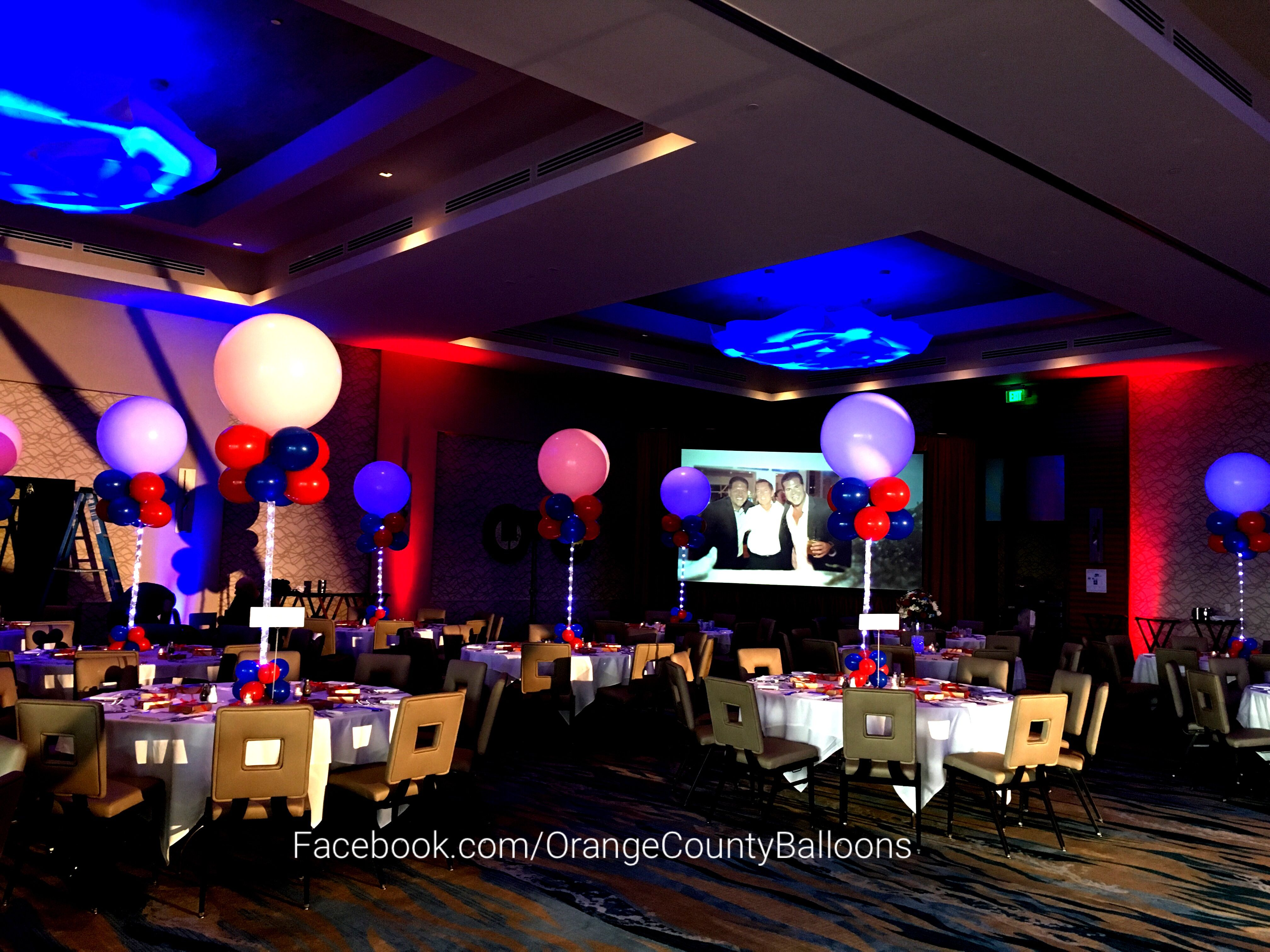 Lighted 3' balloon centerpieces w lighted ribbon. www.facebook.com/OrangeCountyBalloons