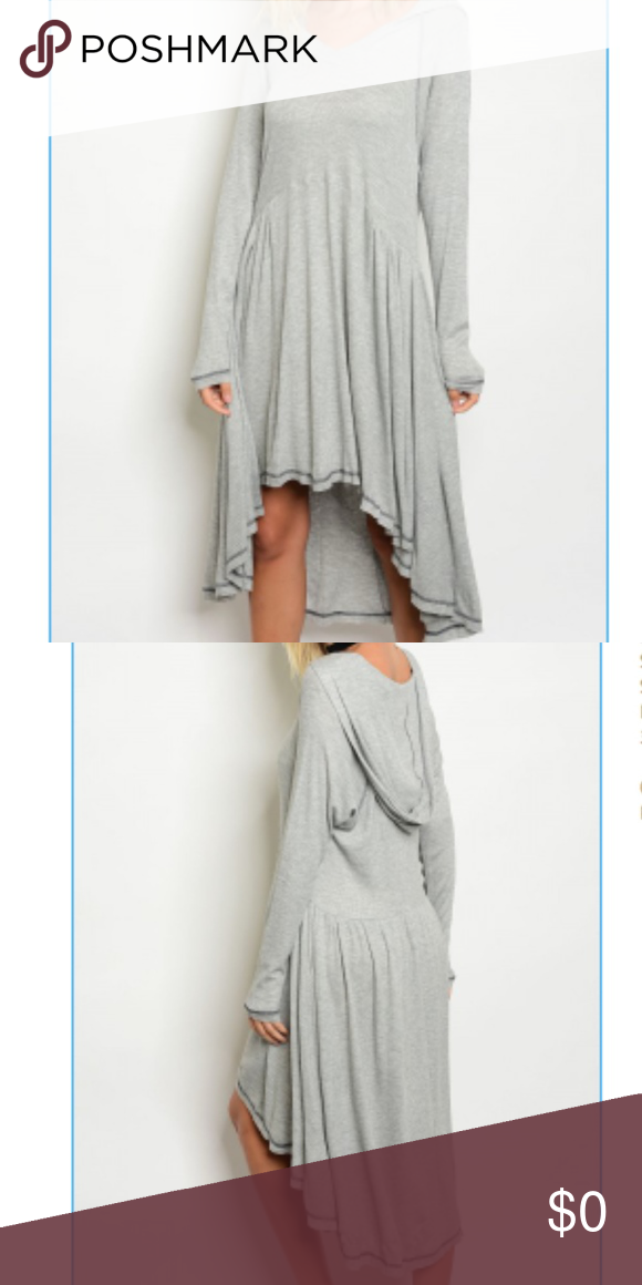 Gray Ribbed Hooded Hi-Lo Dress Made in the beautiful USA.  Small, medium and large available.   Fabric Content: 95% RAYON 5% SPANDEX  Closet staple for fall and winter. Dresses