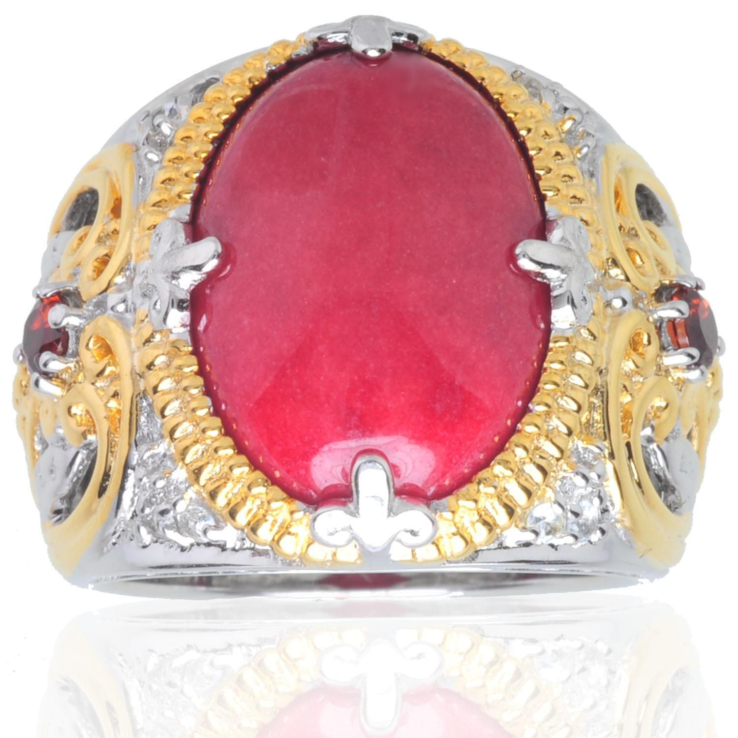 Michael Valitutti 18k Vermeil/ Palladium/ Silver Red Jade and Garnet ...