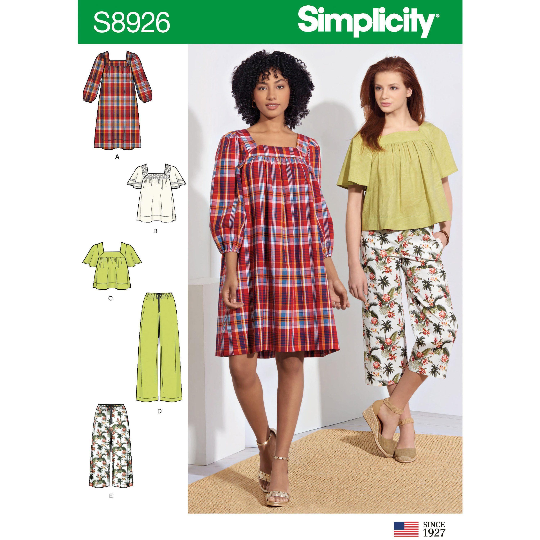 NEW SIMPLICITY SEW PATTERN S8926 MISSES DRESS TOP /& PANTS Sz 6-8-10-12-14 UNCUT