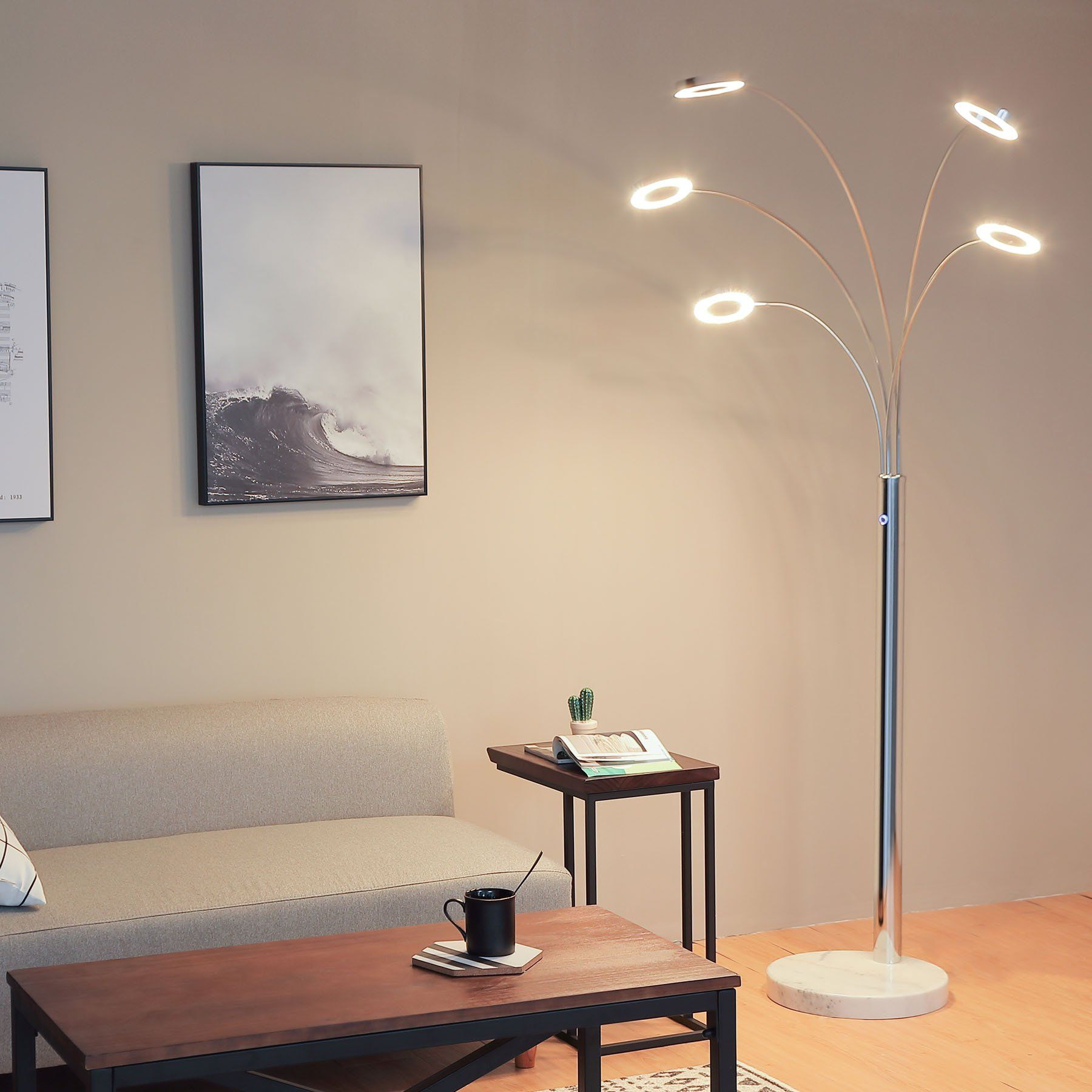 Coz Bright Led Floor Lamp With 5 Dimmable Lights Modern Standing