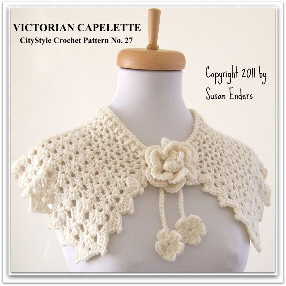 Crochet Pattern Capelet Shawl with Rose and Flower Blossom Tie ...