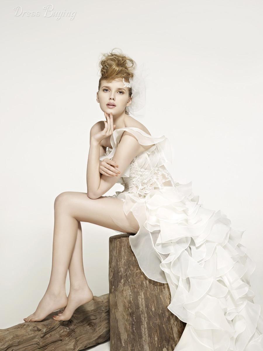 Unique One Shoulder Asymmetry-length Ruffles Wedding Dress