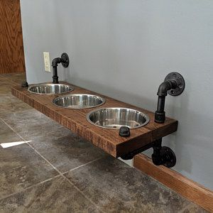 Photo of Reclaimed Barn Wood Floating Raised Dog Feeder | Etsy