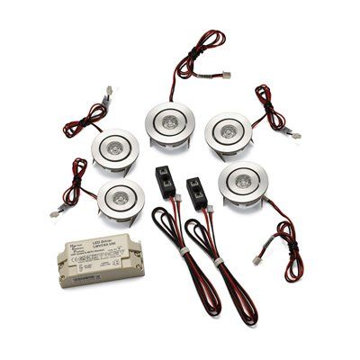 Alico Industries WLE138C32K-0-98-5 5 Light Adjustable LED Button Kit Recessed Can Light, Brushed Aluminum. $340