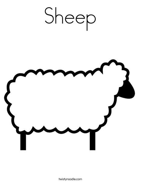 Sheep Coloring Page From Twistynoodle Com Sheep Template Sheep