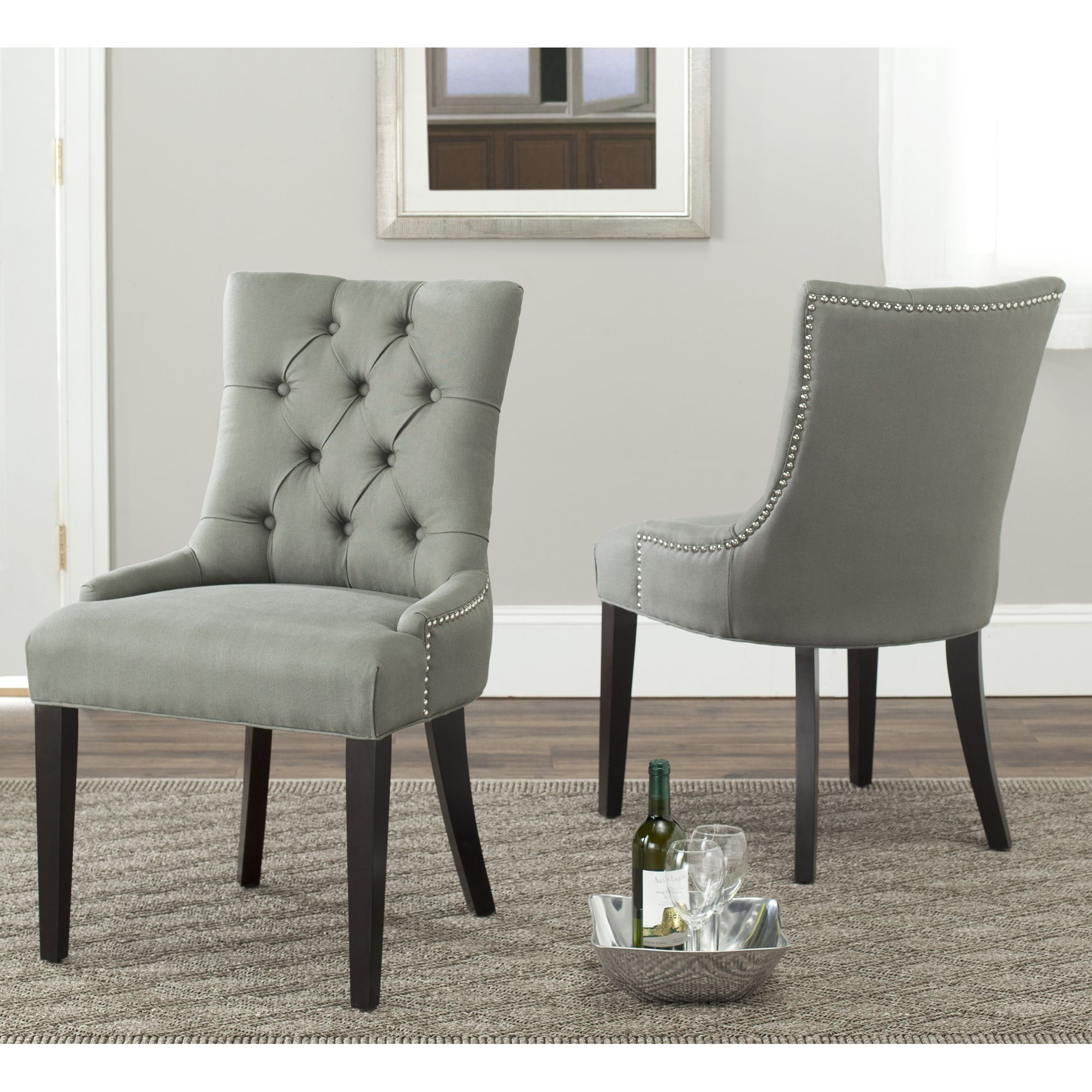 nailhead dining chairs dining room. Safavieh Marseille Grey Linen Nailhead Dining Chairs (Set Of 2) | Overstock.com Shopping - The Best Deals On Room U