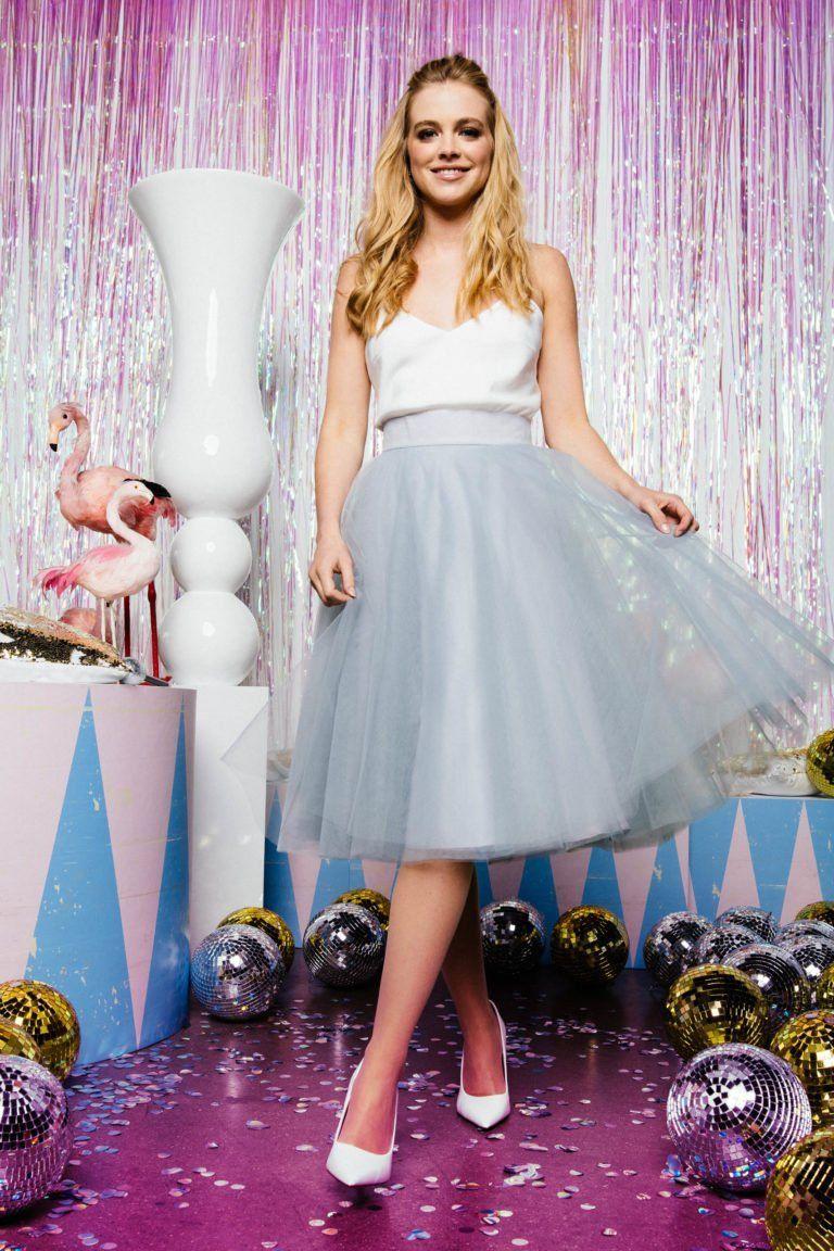 Tüllrock kurz zur Hochzeit in blaugrau für moderne ...