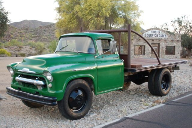 03fd1c2b7743feb1e711be89ded95414 1956 classic chevy 1 12 ton dually stake and platform flat bed navy