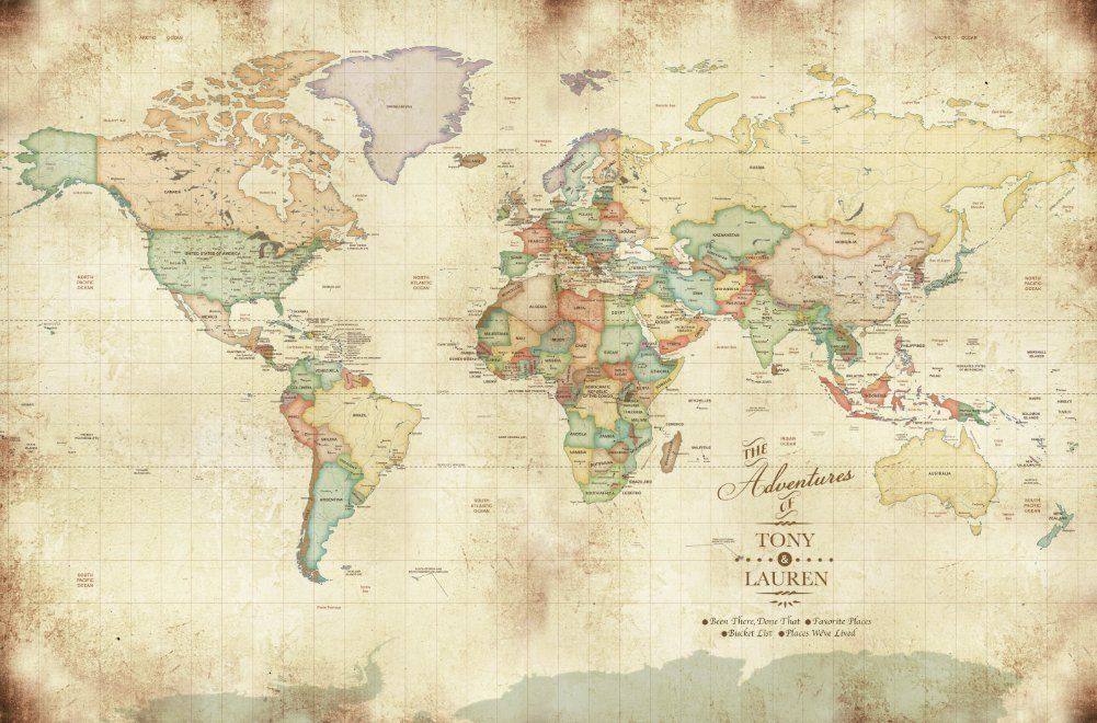 vintage looking world map mounted on foam gift for dad push pin map gift for college going kids study abroad gift 20x30 inches personalized