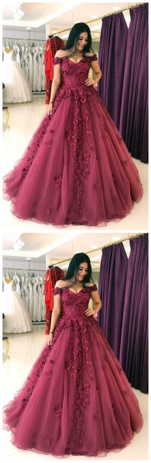 Lace appliques prom dresses ball gownstulle quinceanera outfits