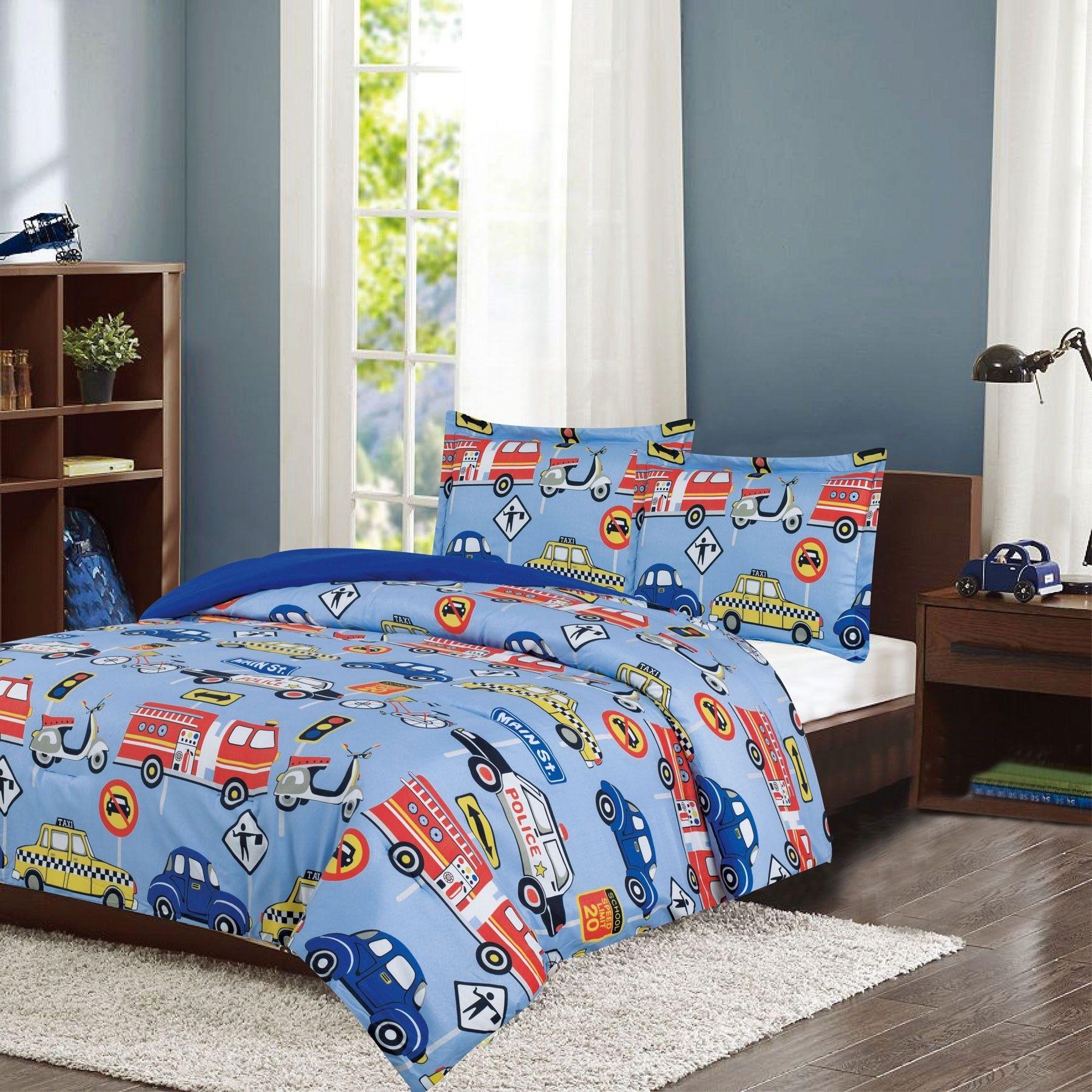 Crest Home Adore Twin 2 Pc Bedding Comforter Set Boys Cars Trucks