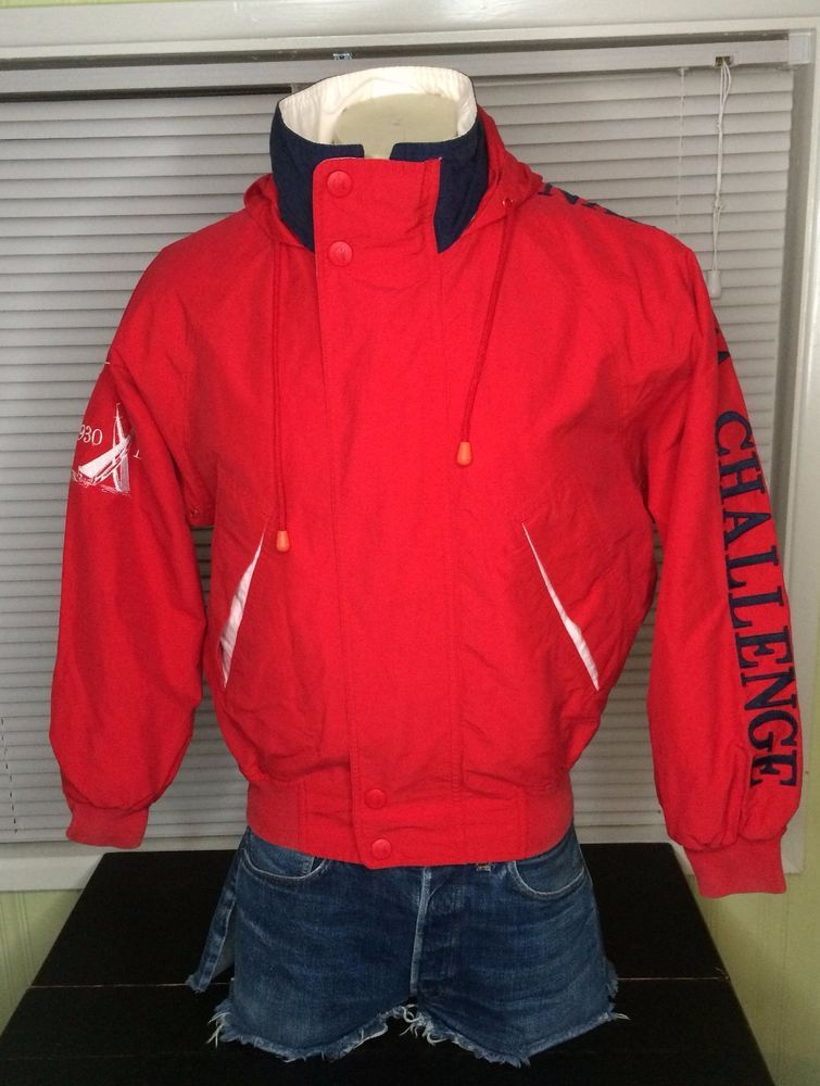 278f79dfbf103d Nautica J class Challenge Jacket Vintage Mens Small Red Coat  Nautica   BasicJacket  jclass  winterstyle  warmclothing  challege  vtg  fashion   style