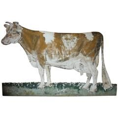 Early 1900s Hand Painted Metal Cow Sign