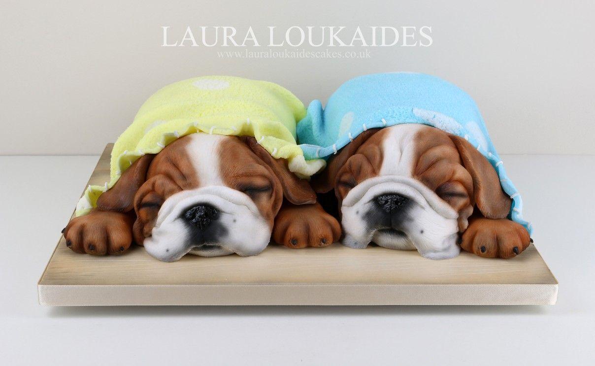 Sleeping Bulldog Puppies Cake By Laura Loukaides Puppy Dog Cakes