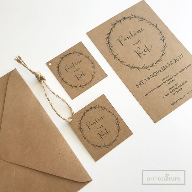 Kraft Craft Wedding Invitations Gift Tags Matching Envelopes