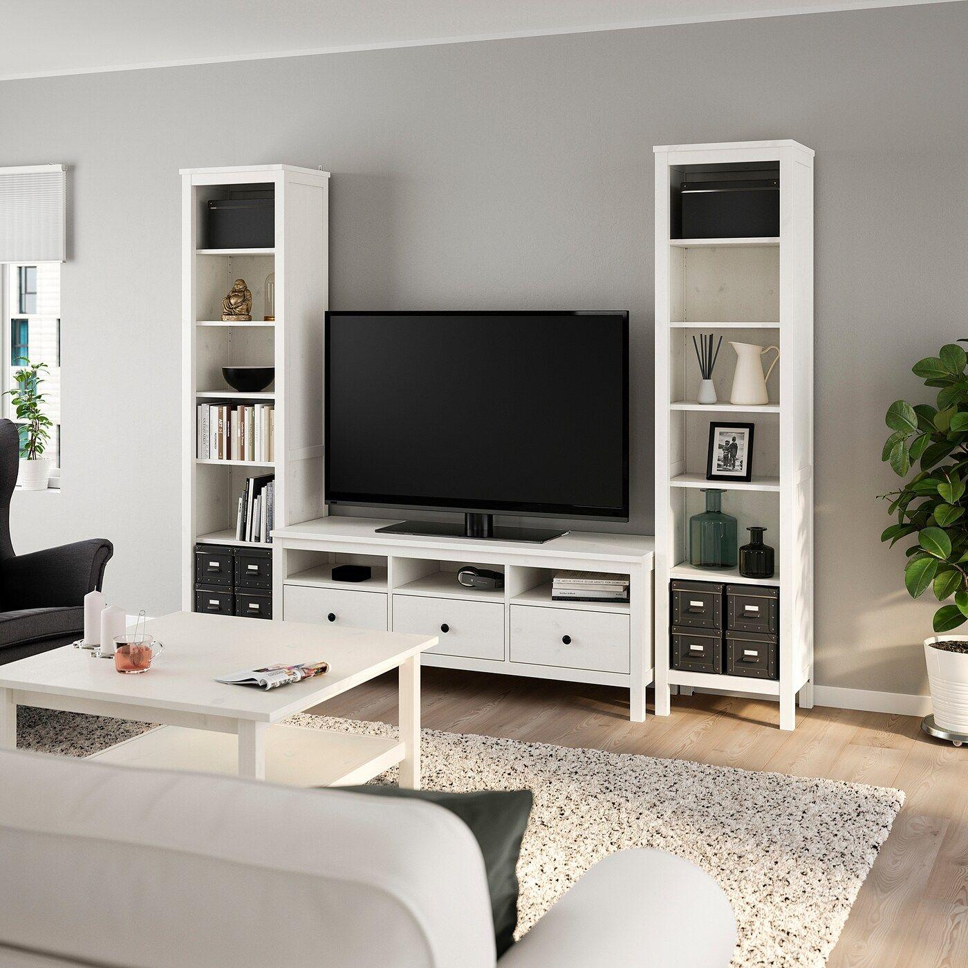 Hemnes Tv Storage Combination White Stain 96 1 2x77 1 2 Ikea Meuble Tv Rangement Mobilier De Salon Hemnes