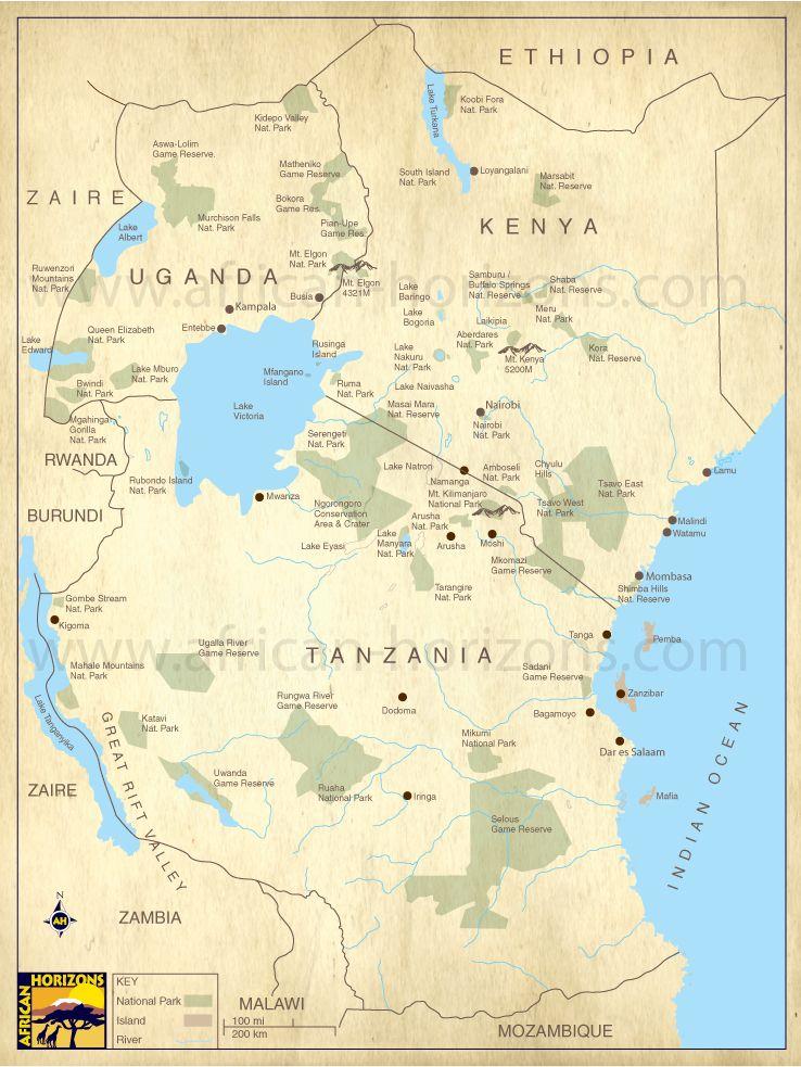 Map of East Africa Kenya Uganda Tanzania Zanzibar East