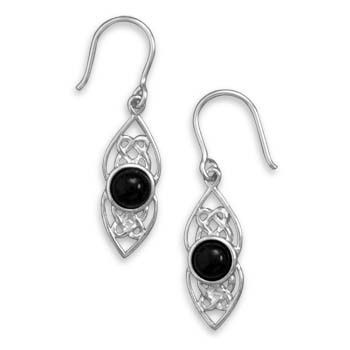 Polished Celtic Earrings with Round Black Onyx
