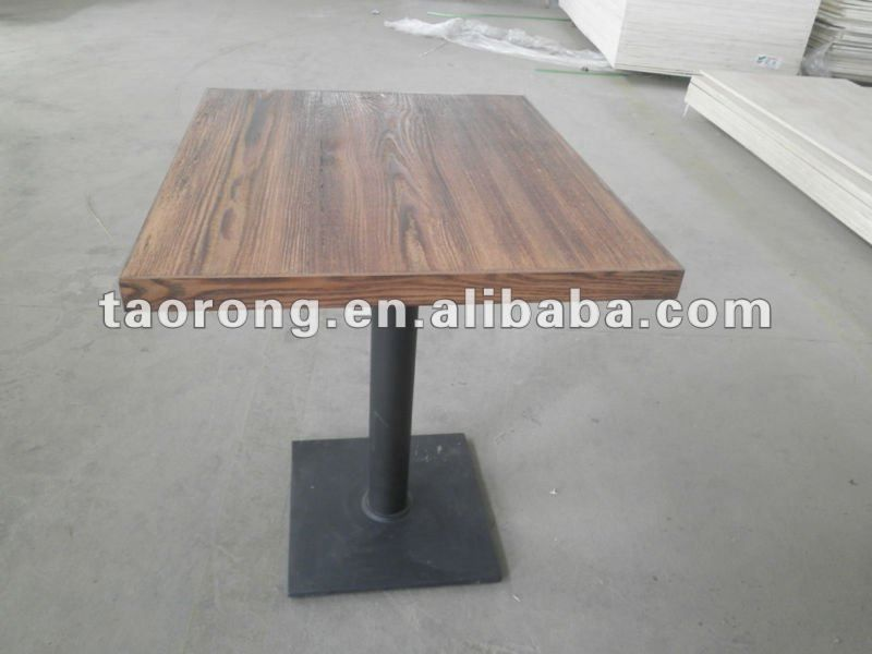 TA 024 Square Carbonized Wood Restaurant Table With Metal Base