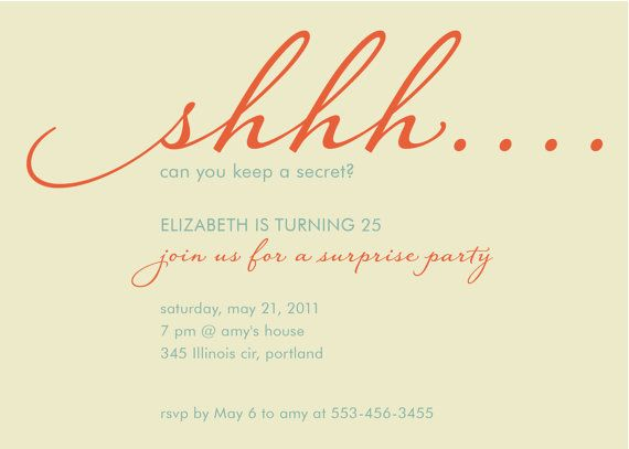 Custom Surprise Birthday Party Invitation Shhhh By Denadesign 1600