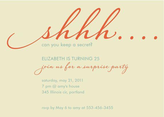 custom surprise adult birthhday party invitation by denadesign - sample invitation wording for 60th birthday