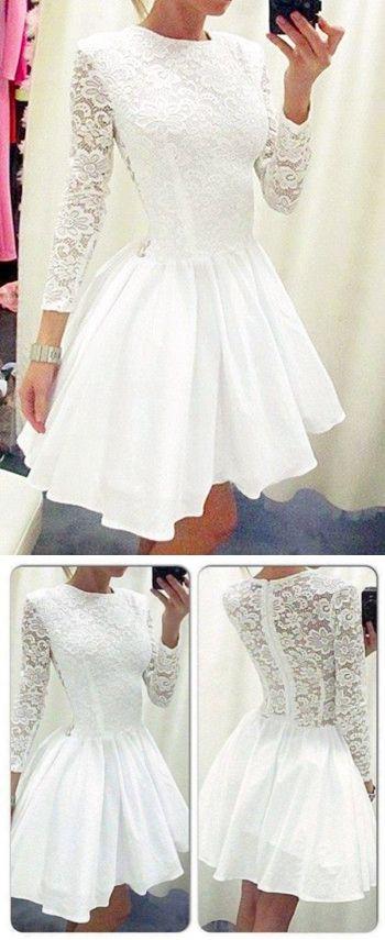 a38851293e49 White Homecoming Dress,Cute Prom Dress,Lace Prom Dress,Sleeve Dress,Short  Prom Dresses,Long Sleeves Homecoming Dresses