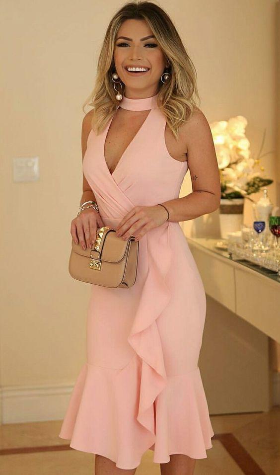 Keyhole Bodice Knee Length Party Dress with Ruffles Hem