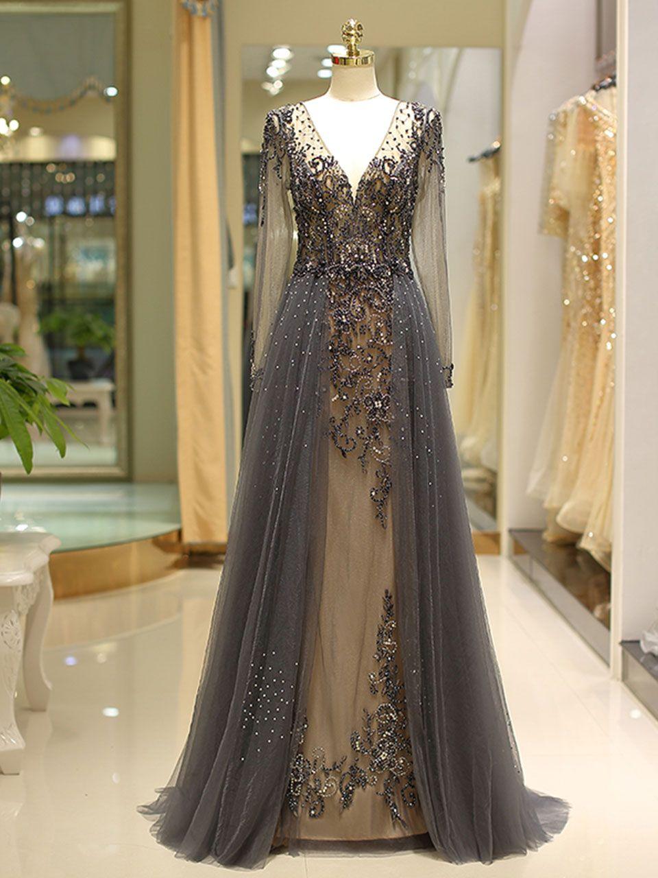 Detachable prom dressesmermaid prom dressesgrey long sleeves