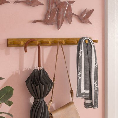 Andover Mills Quint 7 Peg Wall Mounted Coat Rack Color Bamboo